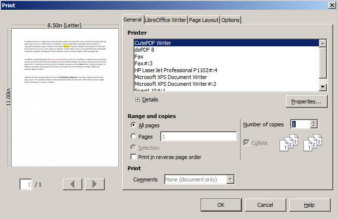Files which can be opened by CutePDF Writer